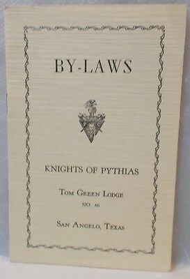 Knights of Pythias By-Laws Pamphlet-1942 Tom Green Lodge #46-San Angelo TEXAS