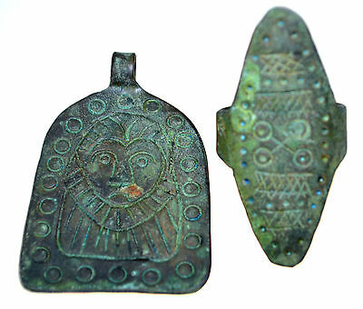 Late Byzantine Middle Ages Bronze Ring and Pendant Set