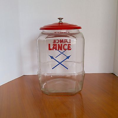 Vintage Lance Store Display Cookie Cracker Glass Jar  8 Sided With Arrows