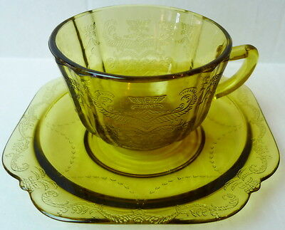 Amber Indiana Madrid Cup and Saucer Set Federal Glass 1976 Recollection