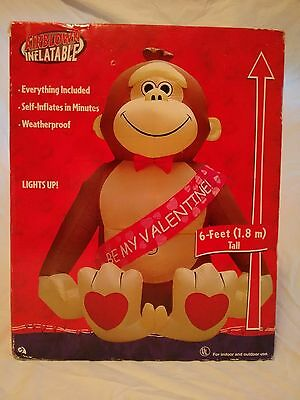 Gemmy Valentines Day Monkey Airblown Inflatable 2004 Rare 6 FT Be My Valentine