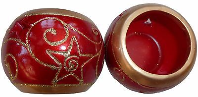Pack of two tealight holders - Christmas red & Gold (Round or star top design