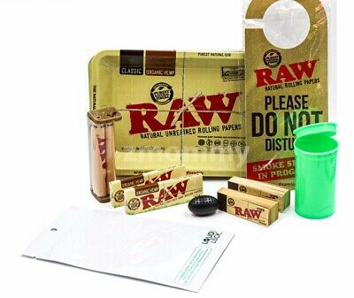 10+ Items-1 1/4 RAW ROLLING BUNDLE,ROLLERS,PAPERS,TRAY,CASE,TIPS,FREE SHIPPING!!
