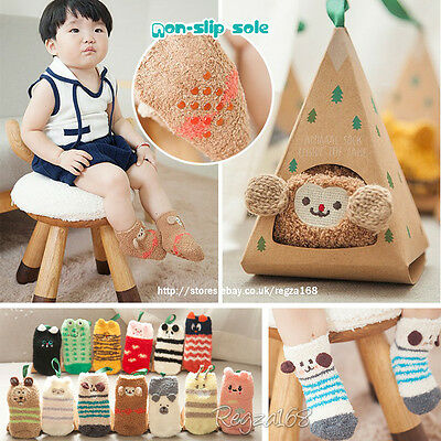 ✿Baby Boys Girls Toddler Cute Animal Soft Fluffy Slipper Socks Leg Warmer 0-3Y✿
