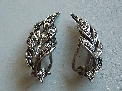 Stunning Vintage 1940's Sterling Silver & Marcasite Clip On Earrings