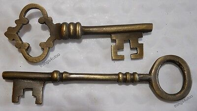 Jail Prison keys very large rusty cast iron 2 pc. #E622