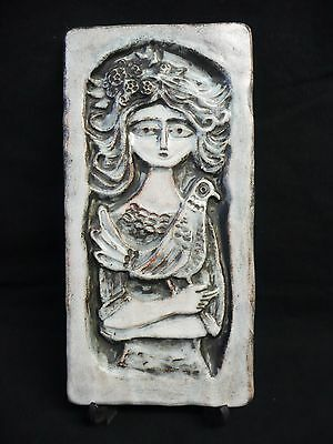 Vintage Studio Pottery Wall Plaque - 'Woman and Bird'.