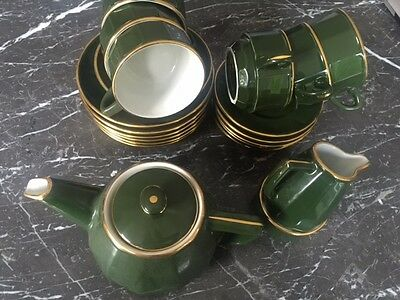 Apilco French Green and Gold Bistroware 6 piece Tea Set