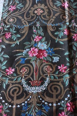 Antique French c1870 Home Dec Cotton Fabric Textile Sample~Frame Layout