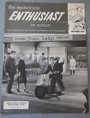 "Harley Davidson Enthusiast magazine Dec. 1959 Topper on cover ""Kookie"" Byrnes"