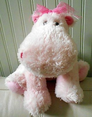 "Russ Berrie Hippo Plush Stuffed DARLY Pink Large 14"" Long #29503"