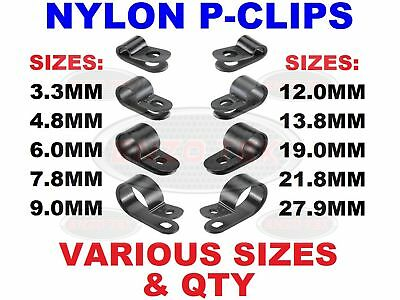Nylon Black P Clips Fasteners For Cable Conduit Tubing Wire Sleeving Plastic
