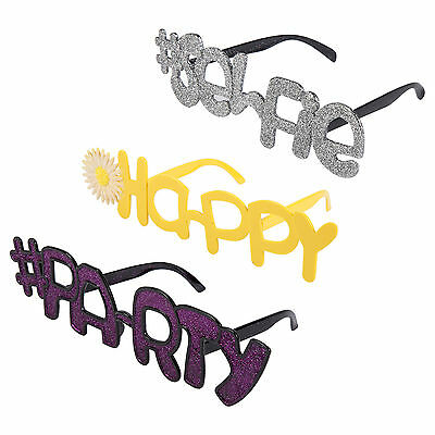 Set of 3 Novelty Hashtag Fancy Dress Glasses ( #SELFIE / #PARTY / ❋HAPPY )