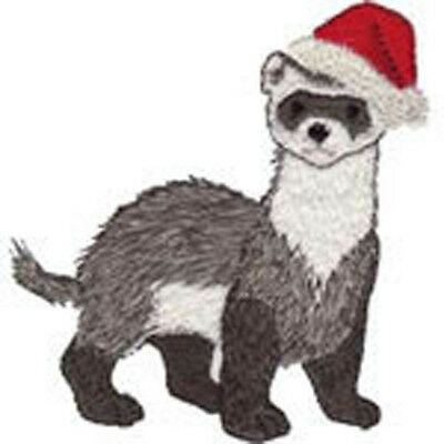 Christmas Ferret in Santa Hat Embroidery Patch