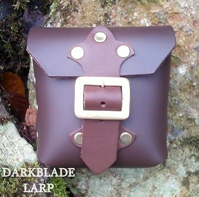 Heavy Leather Belt Pouch Medieval Larp Pagan Cosplay Stage Costume Black Brown