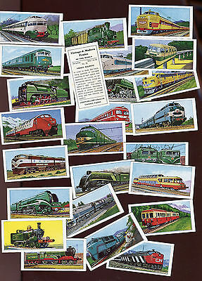"""Bellamy 1968 Set Of 25 """"vintage & Modern Trains Of The World"""" Trade Cards"""