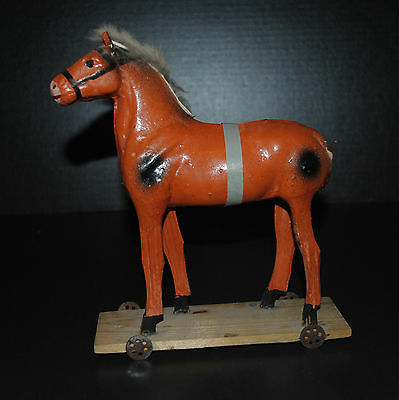 Antique Germany Wood Pull Horse On Wheel Toy Rare Nice