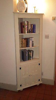 Shabby Chic Style Painted Corner Cupboard / Bookcase / Display Cabinet