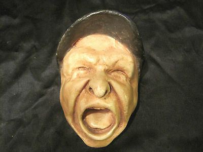 """antique 19th century screaming head match holder ,5 3/4"""" long , primo"""