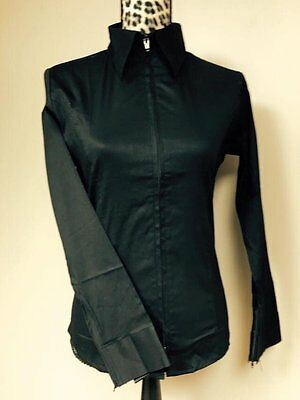 Fitted Zip Front Shirt - Black