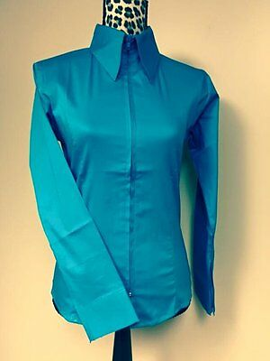 Fitted Zip Front Shirt - Turquoise