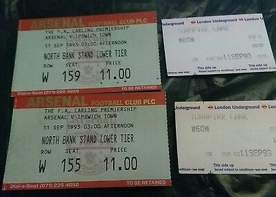 1993 Arsenal v Ipswich dated 11sept 1993 a pair of  Used ticket stubs