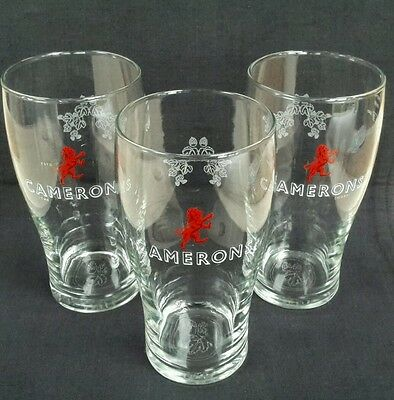 THREE STUNNING CAMERONS BREWERY  PINT  GLASSES  - NEW - Ideal for Home Bar - Pub