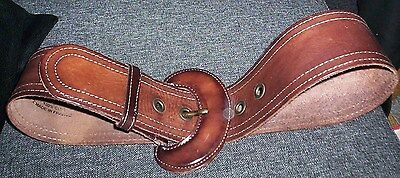 Rare Collectable Vintage Chunky Bekaloo France Brown Leather Belt 30-36 Waist