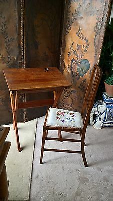 Antique  fold up desk & chair
