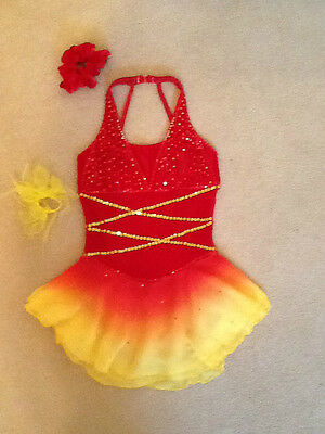 Unique Red and Yellow Ombre Ice Skating Dress Costume *Canadian Designer
