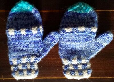 alpaca gloves with mitten caps 2-3 years lightweight, soft and warm, blue