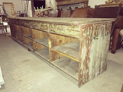 Huge, 3.8m Long, Antique, Oak, Shop Counter, Haberdashery, Vintage, Country