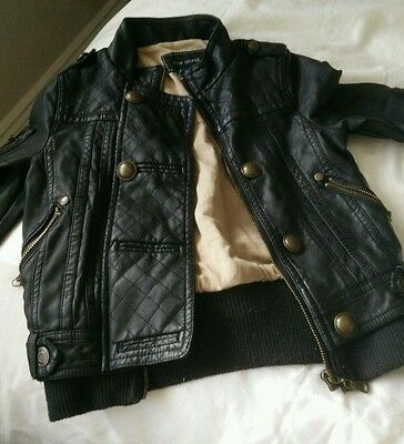 Girls River Island leather look jacket, Age 4