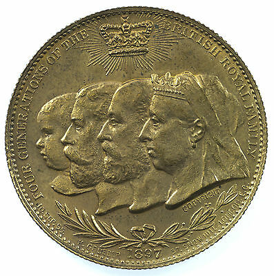 Medal, Victoria, Four Generations British Royal Family, 32Mm, Cleaned, 1897
