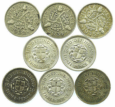 Great Britain, George V/vi Threepence Set, Silver, 8 Coins, 1932-1941