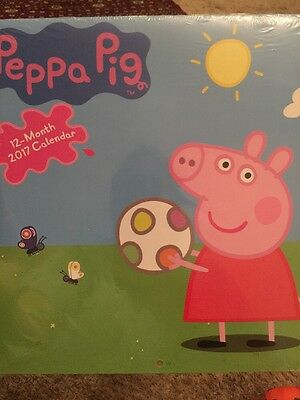 Peppa Pig Wall Calendar 2017 12 Month Today Hanging New Sealed Preschool