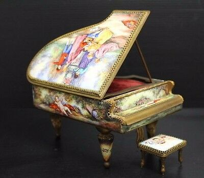 Antique Baby Grand Piano Enameled Music Box w/ Bench 19th Century (1800's)