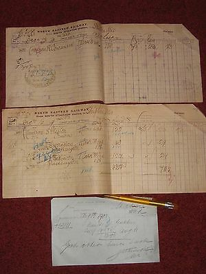 South Stockton Station, North Eastern Railway: 2 Invoices from 1897 & Memo 1900.