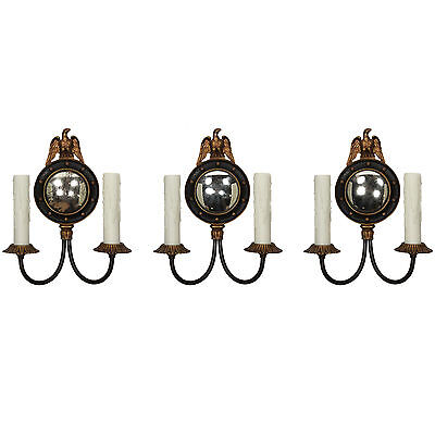 Antique Figural Double-Arm Mirrored Sconces w Eagles, 3 Available, NSP1129