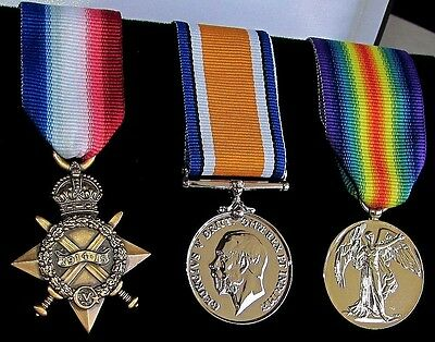 British Campaign Trio Set Medals (1914-1915 Star, BWM and Victory) World War One
