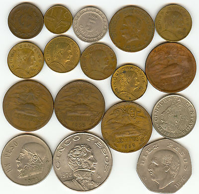 Mexico Nice Lot Of 17 Coins 1914-1976!!!