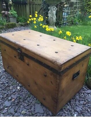 Restored Solid Pine Antique Trunk / Chest / Toy Box - Great Coffee Table Etc
