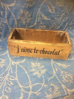 Vintage antiqued wooden box,trug,J'aime le chocolate I Love Chocolate