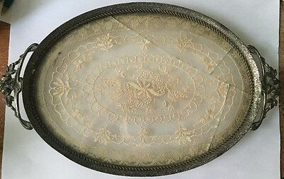 """Vintage Antique Glass Metal Oval Vanity Tray Floating Doily 10 1/2"""" Cracked"""