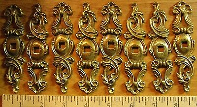 Vintage Solid Brass Drawer Pull Back Face Plates 8 pieces NOS From Lane Factory