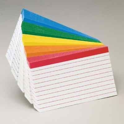 Color Coded Bar Ruled Index Cards 3 x 5 Assorted Colors 100/Pack