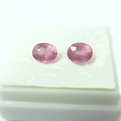 1.42 ct. Unbehandeltes Paar ovale 5.7 x 4.5 mm Pink Tansania Spinelle