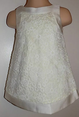 Designer Baby Dress Cream With Lace Flowers By Little Rocha Size 6-9 Months