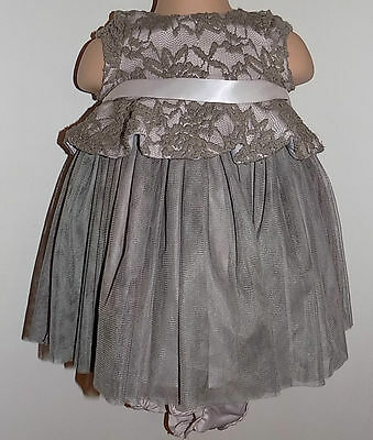 Stunning Brown/Coffee Baby Lace Dress & Pants Pippa & Julie 3-6 Months