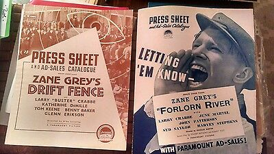 Two pressbooks 1936-37 Zane Grey movies BUSTER CRABBE